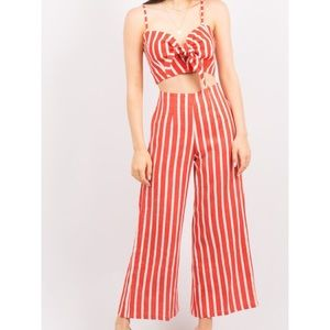 Faithfull the Brand Red and White Striped Set